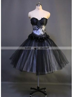 Romantic Black Gothic Short Burlesque Corset Prom Party Dress