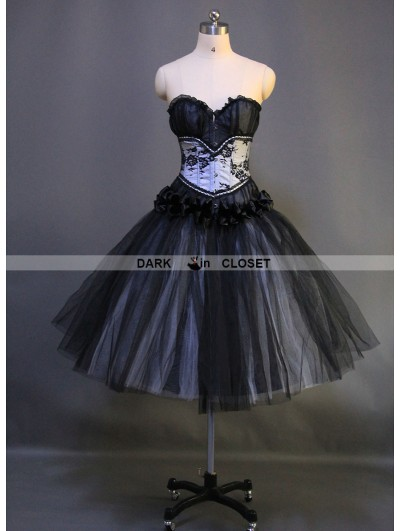 Romantic Black Gothic Short Burlesque Corset Prom Party Dress