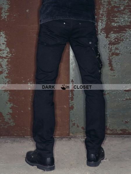 Devil Fashion Black Zipper Chain Gothic Punk Pants For Men