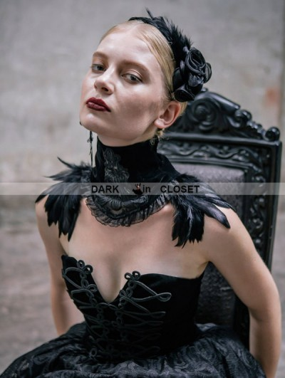 Devil Fashion Black Gothic Feather Collar Shawl