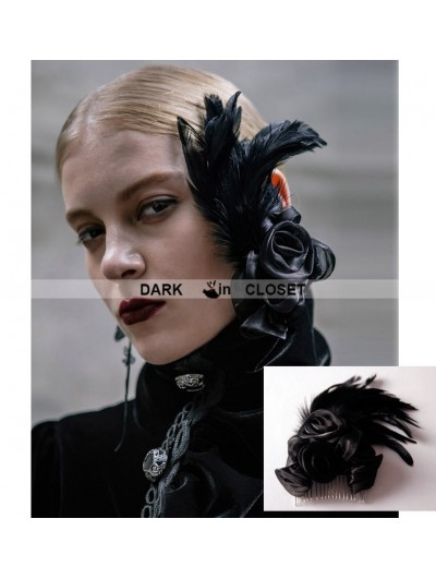 Devil Fashion Black Gothic Feather Headdress