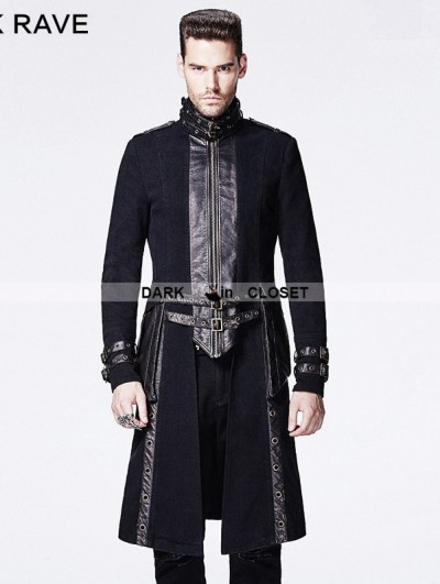 Punk Rave Black Gothic Punk Style Long Coat for Men