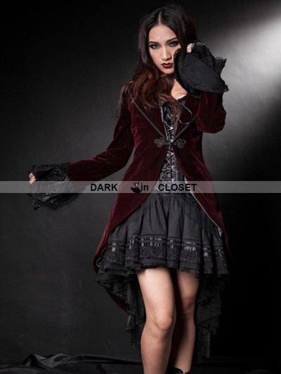 Pentagramme Wine Red Velvet Gothic Swallow-Tailed Coat for Women