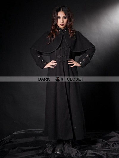 Pentagramme Black Gothic Long Coat with Shawl for Women