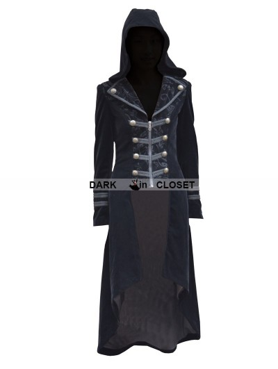 Pentagramme Black Velvet Gothic Hooded Long Coat for Women