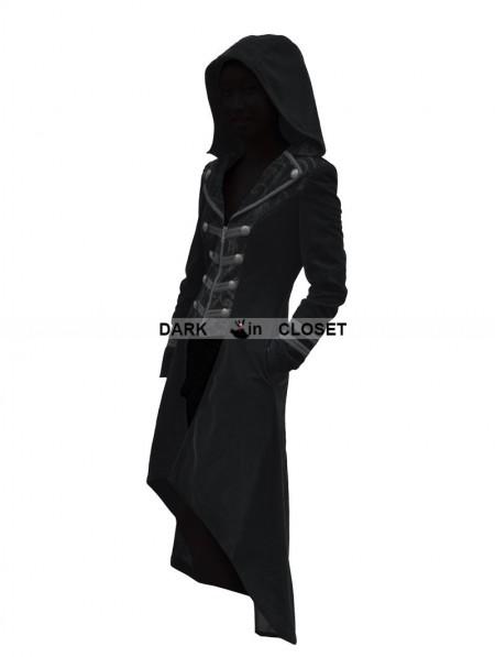 Pentagramme Black Velvet Gothic Hooded Long Coat for Women