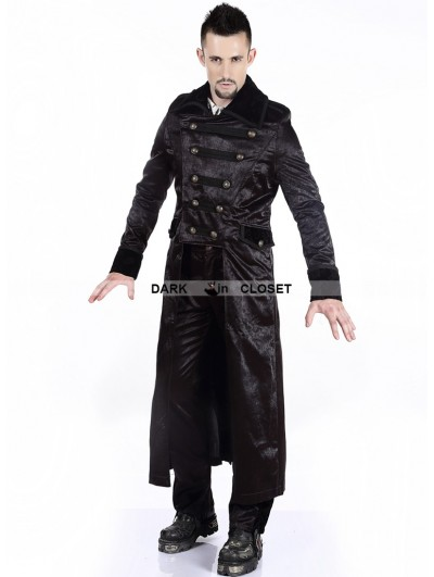 Pentagramme Black Double-Breasted Gothic Long Jacket for Men