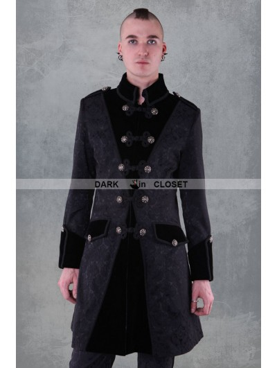 Pentagramme Black Pattern Winter Gothic Coat for Men