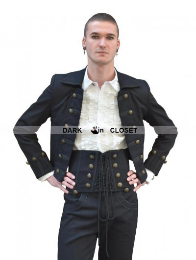 Pentagramme Black Double-Breasted Gothic Short Jacket for Men