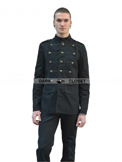 Pentagramme Black Gothic Military Style Jacket for Men