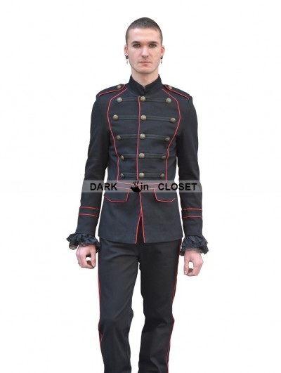 Pentagramme Black and Red Gothic Military Style Jacket for Men