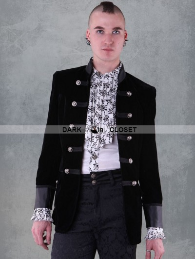 Pentagramme Black Double-Breasted Gothic Jacket for Men