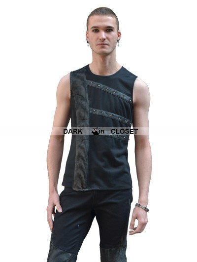 Pentagramme Black Sleeveless Gothic Shirt for Men