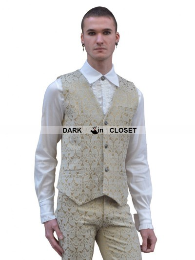 Pentagramme Yellow Pattern Mens Gothic Vest