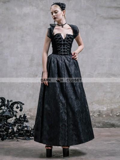 Devil Fashion Romantic Black Gothic Halter Corset Prom Dress