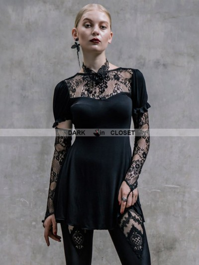 Devil Fashion Black Long Sleeves Lace Gothic Shirt for Women