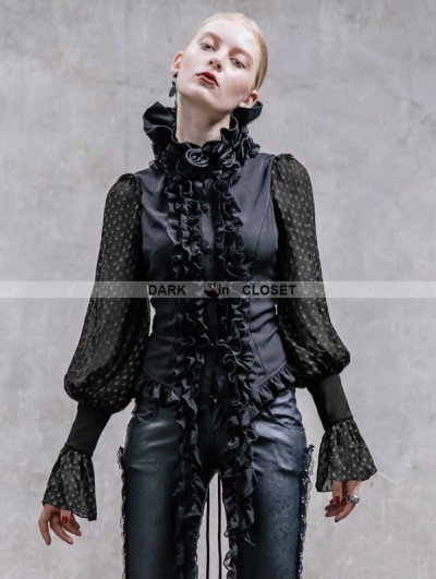 Devil Fashion Romantic Long Sleeves Chiffon Gothic Blouse for Women