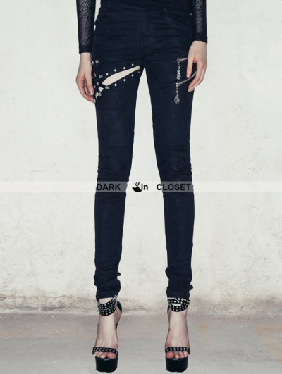 Devil Fashion Black Zipper Gothic Punk Pants for Women