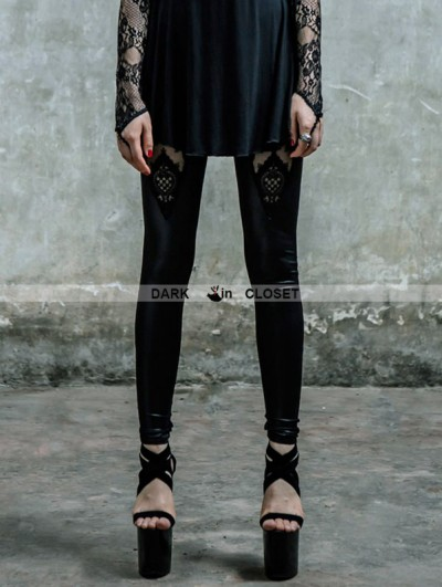 Devil Fashion Black Gothic Lace Pattern Legging for Women