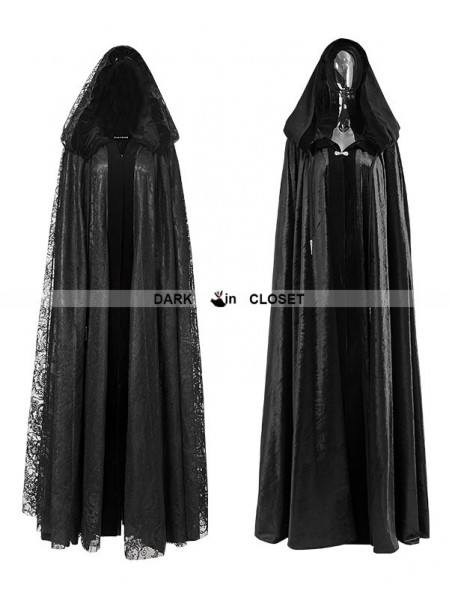 punk rave black gothic long hooded cape for women