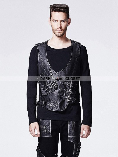 Punk Rave Leather Gothic Steampunk Vest for Men