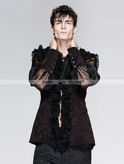 Punk Rave Black Gorgeous High Collar Gothic Blouse for Men