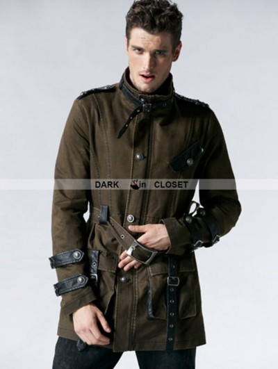 Punk Rave Coffee Gothic Retro Army Style Coat for Men
