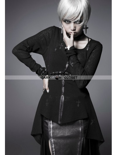 Punk Rave Black Gothic Cross Long Sleeves Shirt for Women