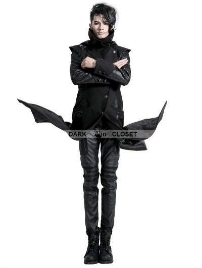 Punk Rave Black Gothic Printing Long Hooded Jacket for Men