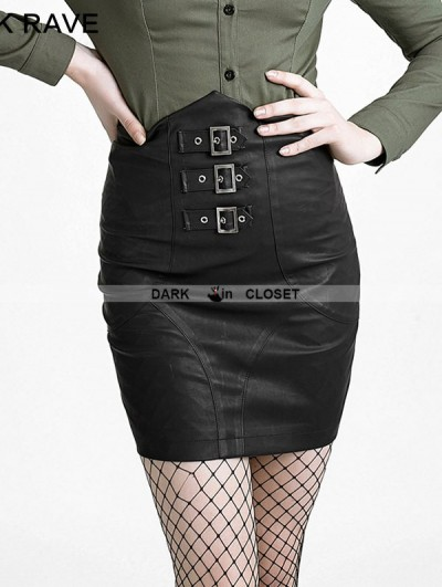 Punk Rave Black Gothic High-Waist Skirt