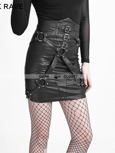 Punk Rave Black Gothic Punk Bandage High-Waist PU Skirt