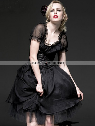 Punk Rave Black Gothic Two-Piece Corset Ballet Dress