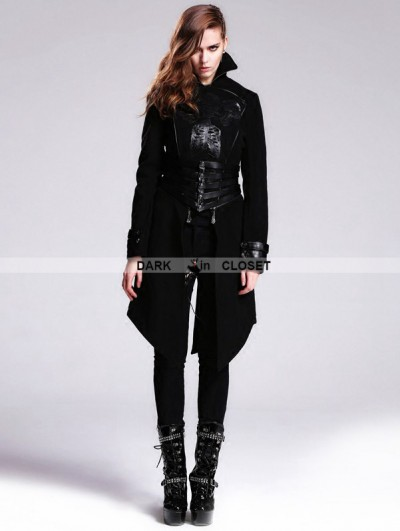 Devil Fashion Black Gothic Punk Skull Detachable Short and Long Trench Coat for Women