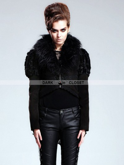 Devil Fashion Black Gothic Short Jacket with Detachable Fur Collar