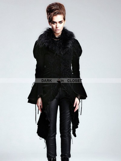 Devil Fashion Black Vintage Velvet Gothic Jacket with Detachable Fur Collar