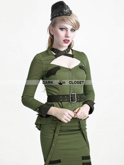 Punk Rave Green Gothic Uniform Style Shirt for Women