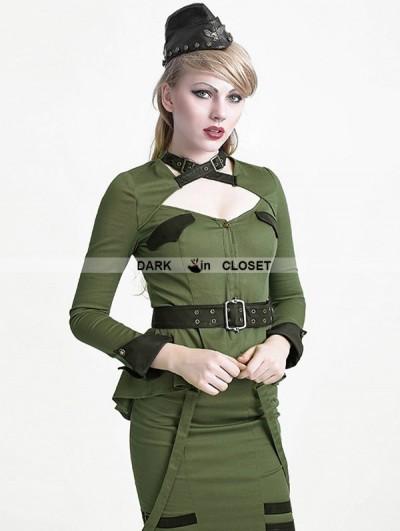 Punk Rave Green Gothic Uniform Style Shirt for Women