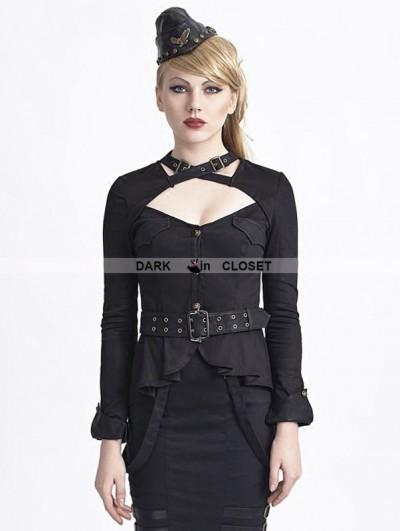 Punk Rave Black Gothic Uniform Style Shirt for Women