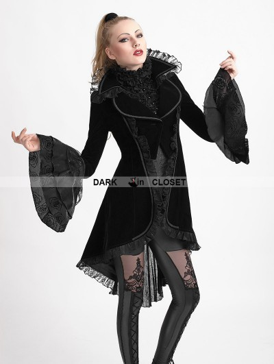 Punk Rave Black Gothic Forked Tail Coat for Women