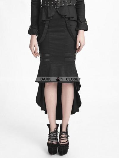 Punk Rave Black Uniform Style Gothic Punk Fishtail Skirt