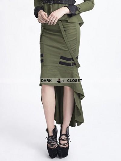 Punk Rave Green Uniform Style Gothic Punk Fishtail Skirt