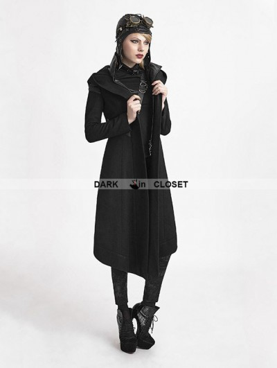 Punk Rave Black Gothic Hooded Coat for Women