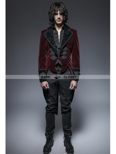 Punk Rave Wine Red Gothic Gentle Jacket with Scissors Tail