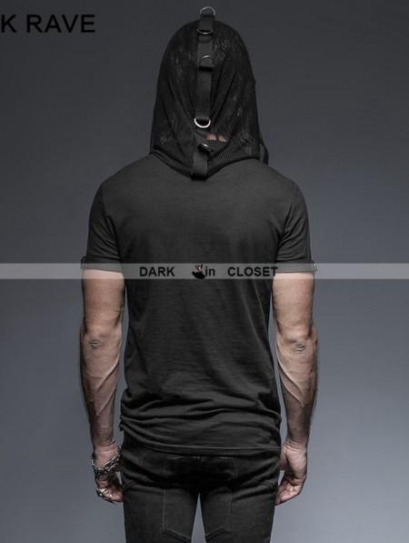 Punk Rave Black Gothic Hooded Mesh T Shirt For Men