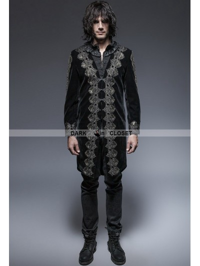 Punk Rave Black Gothic Aesthetic Embossed Coat for Men