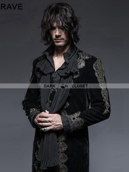 Punk Rave Black Gothic Aesthetic Embossed Coat For Men