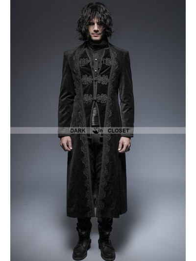 Punk Rave Black Gorgeous Vintage Style Gothic Long Coat for Men