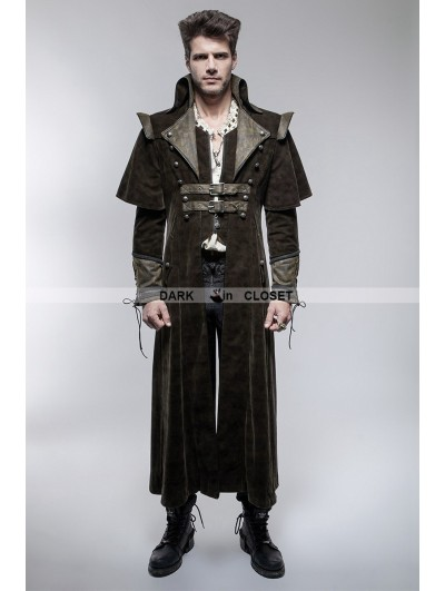 Punk Rave Coffee Gothic Punk Killer Sense Coat with Cape