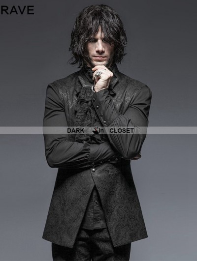 Punk Rave Black Stand-up Collar Gothic Vest for Men