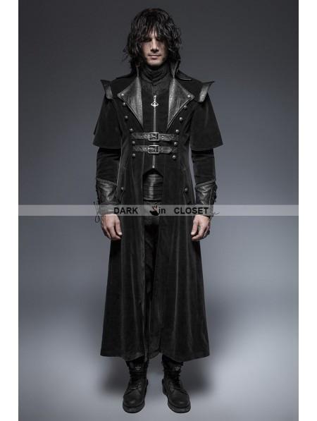 punk rave black gothic long cloak coat for men